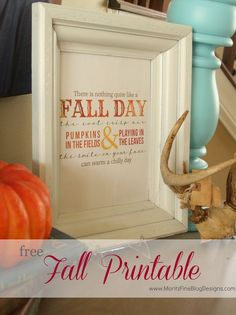 pretty fall printable. I printed and used this on my sofa table...so EASY! | www.MoritzFineBlo...