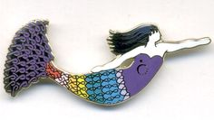 Mermaid pin designed for Relay for Life.  The colors represent the different types of cancer.  The artist designed several of the mermaids throughout Norfolk, VA