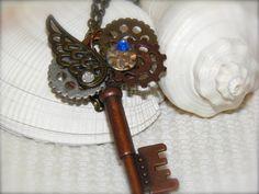Steampunk Gear Key Necklace, Skeleton Key, Key Pendant, Antique Bronze, Key Jewelry, Vintage Style, Beaded Pendant, Fantasy Necklace by KeyofMyHope on Etsy