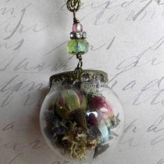 Glass Globe NEcklace  Belle's Rose Necklace  Rose by Msemrick, $30.00