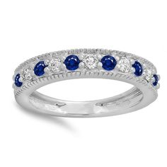 14k Gold 1/2ct Round Blue Sapphire and Diamond Milgrain Wedding Stackable Band
