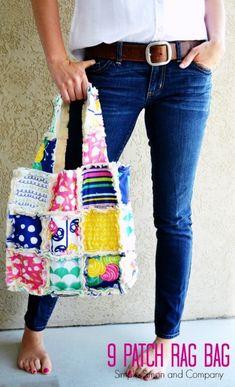 9 Patch Rag Bag Tutorial // #GleefulFabrics by #SewCaroline for #ArtGalleryFabrics