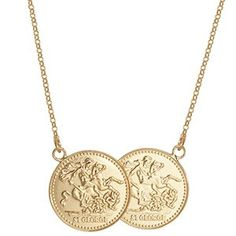 Gold Double Coin Necklace   <p><span>Create a look that is both meaningful and thoroughly on-trend with this beautiful gold plate double coin necklace. As seen on celebrities such as Holly Willoughby, this popular coin necklace has been beautifully crafted from gold over silver.