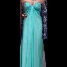 Seafoam Blue Prom Dress This dress has been worn once. It has been hemmed and taken in at the bust. It is in nearly perfect condition. Dresses Prom