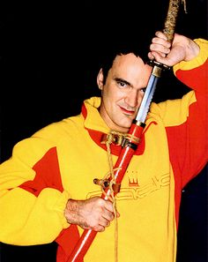 Quentin Tarantino on set of Kill Bill.
