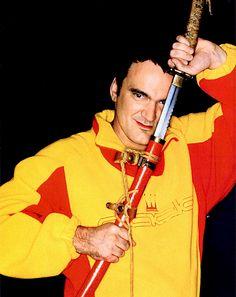 Quentin Tarantino on set of Kill Bill.