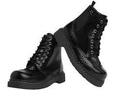 Black Perforated Leather Anarchic Combat Boots | T.U.K. Shoes