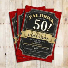 Black Red Gold Adult Birthday Invitation / by TheStarDustFactory, $10.00