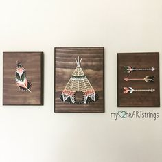 Love my Tribe string art trio- feather, arrow, teepee