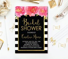 41 best bridal shower invitations images on pinterest in 2018 black white stripe bridal shower invitation floral bridal shower invite pink watercolor florals filmwisefo