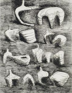nickkahler:  Henry Moore, Two and Three Pieces, Reclining Figures, 1967