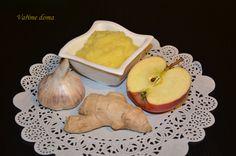 nachlazení Kousek zázvoru (cca 3cm) 2 stroužky česneku 1 jablíčko