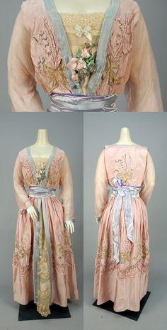 "Circa 1916 LUCILE (LADY DUFF GORDON) applique silk ""Happiness Dress."""