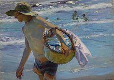 El pescador es un Óleo sobre lienzo y pertenece a la serie de pinturas ambientadas en Valencia. En esta composición se destaca la luminosidad y predominan los tonos azul y rosa. El hombre representado se muestra en diagonal con el torso desnudo y un sombrero. Con el brazo izquierdo sostiene un cesto de mimbre.  En el fondo está el mar y unos niños que juegan con las olas.