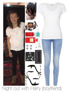 """Night out with Harry"" by myllenna-malik ❤ liked on Polyvore featuring Bobbi Brown Cosmetics, G-Star, Yves Saint Laurent, Essie, James Perse, Elizabeth Arden, SO, Topshop, Prada and women's clothing"