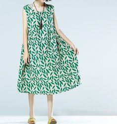 Sleeveless linen dress summer print vest skirt