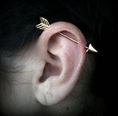 Gold arrow cartilage piercing earrings