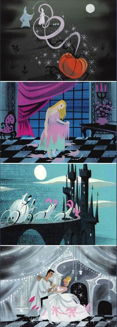 Concept art by Mary Blair for Disney's Cinderella Art Disney, Disney Artists, Disney Concept Art, Vintage Disney Art, Mary Blair, Concept Art Landscape, Art Tutorial, Illustration Noel, Illustration Essay