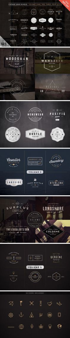 A unique collection of 30 vintage logos made in Adobe Illustrator with editable text(only free fonts used). They're great for apparel...: