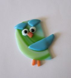 Owl Ornament Blue and Green by outofourgourds on Etsy, $16.00