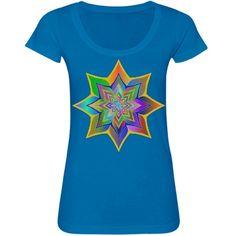 #BrightColorfulFloral #TurquoiseScoopneckTshirt by #MoonDreamsMusic