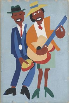 William H. Johnson (1901–1970). African-American artist. He lived for some time in Denmark with his Danish wife, and painted modernist paintings often in the style of Van Gogh. They left for the US in 1938, over there he simplified his style to the point of folk-art and immersed himself in his African-American roots.