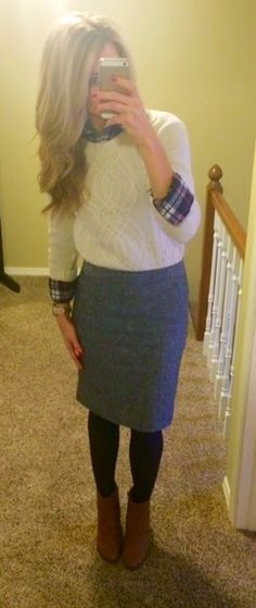 PolishedandPink: sweater over button-down, pencil skirt, tights, booties.