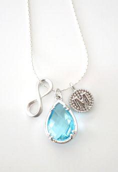 Jacqueline - Personalised Silver Letter Infinity Teardrop Necklace, Aquamarine March Birthstone, Bridesmaid Necklace, Bridal Jewelry, www.glitzandlove.com