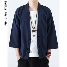 Sew Men Clothes Sinicism Store Mens Cotton Linen Shirts Japan Kimono Horn Buckle Male Chinese Traditional Costume Open Stitch Korean Shirt Casual Shirts from Men's Clothing Traditional Japanese Clothing Male, Chinese Traditional Costume, Chinese Clothing, Japanese Outfits, Korean Outfits, Korean Outfit Male, Kimono Chino, Men's Yukata, Korean Shirts