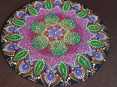 Mandala - Summer flower 11 pouces Mandala Meditation, Meditation Stones, Mandala Dots, Mandala Pattern, Mandala Painting, Dot Painting, Painted Plates, Hand Painted, Summer Flowers