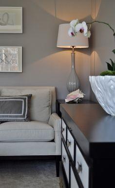 ideas for living room, gray room, gray paint, black and white, neutral decor, decorating with gray   Design by JWS Interiors www.jws-interiors.com  A Daily Design blog