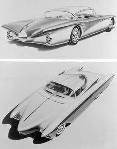 """Mit diesem Foto kündigte General Motors damals, im Vorfeld der Motorama des Jahres 1956, den Oldsmobile Golden Rocket an. Unter der Haube steckte der legendäre """"Rocket""""-V8-Motor von Oldsmobile, in diesem Fall die Version mit 5,3 Liter Hubraum und 275 PS Leistung."""