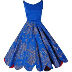 1950's Noel of Hawaii Metallic-Gold Cobalt-Blue Scalloped Cotton Sun... ❤ liked on Polyvore featuring dresses, cotton sun dresses, blue sundress, metallic gold dress, cotton summer dresses and blue sun dress