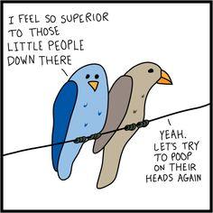 Bird Poop Falling Cartoon | tags: cartoon , funny , humor , illustration