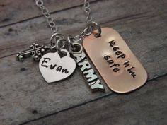 Army necklace-personalized necklace-handstamped-keep him safe-military necklace-veterans