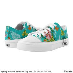 Spring Blossom Zipz Low Top Shoes, US Women 6 Printed Shoes