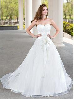 Corte de baile Escote corazón Tren de la corte Organdí Satén Vestido de novia con Encaje Bordado Flores