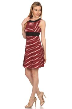 Red and White Polka Dot Dress W/Black Waist and Neck Detail