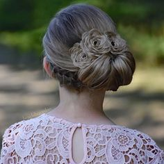 Braided Rosette Updo on my cousin today  #65BraidedRoses