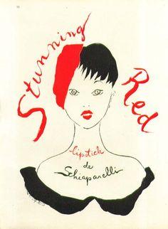 Stunning Red Lipstick Schiaparelli by Vertes ad 1948