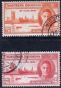 Northern Rhodesia 1946 King George VI Victory Set Fine Used SG 46 47 Scott 46 47 Other Rhodesian Stamps HERE