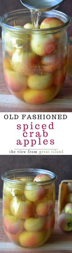 Old Fashioned Spiced Crab Apples goes back to the days when families would scrimp and scrounge to use or preserve every bit of food available to them, including the scrawny crab apples from the front yard tree.   This is a lovely side dish for any fall or winter meal. #Thanksgiving #canning #apples #fallcanning #spicedapples #apples #fallsidedish #Thanksgivingsidedish