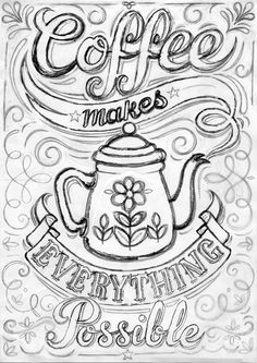 A pencil sketch of new coffee print, I'm a big fan! It may look a bit mad right now, but bear with me, it'll all come together when it's inked in...hopefully!