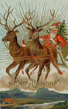 SANTA AND REINDEER  Santa and his reindeer flying through the sky with a sleigh full of Christmas goodies.. Stunning Photo Gifts From Prints-online: Beautiful posters, prints and merchandise with a historical theme.     Copyright © Mary Evans Picture Library
