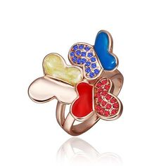 Rose Plated Trio Saphire & Ruby Flying Butterfly Ring Size, Women's