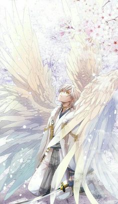 Anime boy, angel, wings, white; Anime Guys