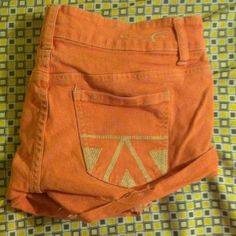 Aztec pocket festival shorts Peachy color, on the shorter side! Jean material American Eagle Outfitters Shorts Jean Shorts