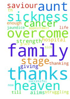 Our Father who are in heaven. My thanks - Our Father who are in heaven. My thanks for giving me this life and family. My thanking for you is everlasting. I cant thank you enough. Dear God my aunt is sick of Diabetes, jaundice and cancer 4th Stage. Im in need of your strength and blessings to help my aunt overcome this sickness. My family has been struggling to get an appointment at AIIMS Hospital and we havent been successful till now. My saviour please bless us with your Grace to overcome…