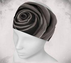 Headband - Rose - Wee Dog - Yoga headband - Pilates headband - Microknit -Quick dry -Ecopoly - Black Rose- Flower - Performance Fabric by WeeDogWearableArt on Etsy
