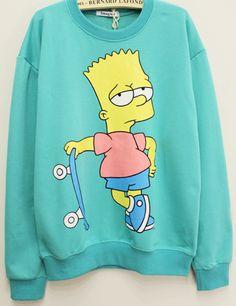 Green Long Sleeve Simpson Pattern Sweatshirt - Sheinside.com
